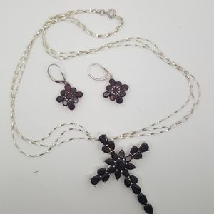 Cross Necklace and Earrings